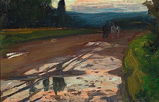 Enric Galwey Barcelona 1864 - 1943 Paisaje Óleo sobre cartón