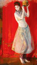 Lluís Masriera Rosés Barcelona 1872 - 1958 A girl Oil on canvas Signed 85x49.9 cm