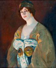 Lluís Masriera Rosés Barcelona 1872 - 1958 A girl Oil on canvas Signed twice On the back, signed, located and dated in Barcelona in 1917 65x54.5 cm