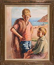 Francesc Domingo Segura Barcelona 1893 - São Paulo 1974 Two Children on the Beach