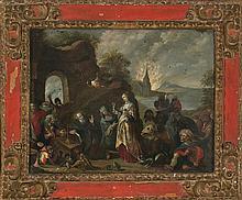 Attributed to Cornelis de Baellieur Antwerp 1607 - 1671 The temptations of Saint Anthony Oil on copper 58x74 cm