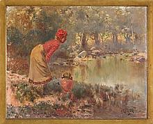 Andrés Larraga Valtierra 1862 - Barcelona 1931 Girl by a pond Oil on board Signed 60,2x75,2 cm