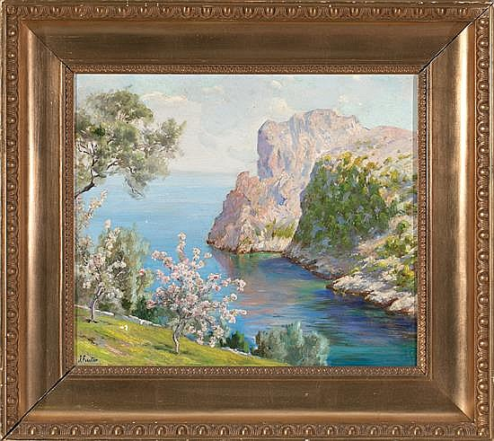 Joan Fuster Bonnin Palma de Mallorca 1870 - 1943 Mallorca viewOil on canvasSigned  45x52,5 cm