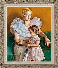 Francesc Domingo Segura Barcelona 1893 - Sao Paulo 1974 Portrait of a mother and her daughter Oil on canvas Signed. On the back, dated