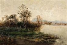 Andrés Larraga Valtierra 1862 - Barcelona 1931 Paisaje Óleo sobre lienzo
