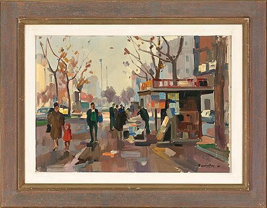 Ramon Barnadas Olot 1909 - 1981 Vista urbana Óleo sobre lienzo