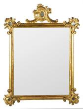 Carved and gold-plated wood Charles III mirror with frame, third quarter of the 18th Century