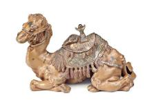 Polychrome calamine camel-shaped inkwell probably from Vienna, late 19th Century