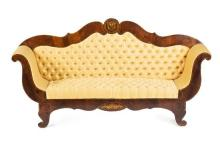 Ferdinand VII-style mahogany sofa and a pair of armchairs, 19th Century