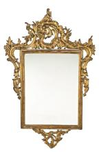 Ferdinand VI mirror with frame in carved and gilded wood, mid 18th Century