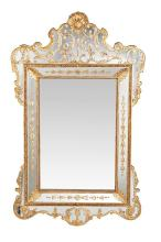 Mirror with Regency-style frame of mirrors, with gilt-stucco applications, circa 1930