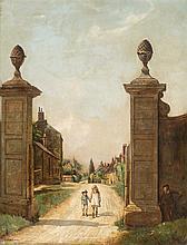 Charles Spencelayh Rochester 1865 - Northampton 1958 Niños jugando al escondite Óleo sobre lienzo