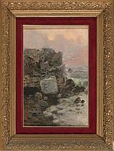 Andrés Larraga Valtierra 1862 - Barcelona 1931 Acantilado Óleo sobre lienzo