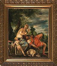 """Josep Triadó Mayol Barcelona 1870 - 1929 """"Venus y Adonis"""" Óleo sobre lienzo pegado a cartón"""