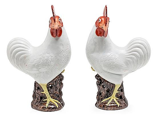 A pair of Indian Company porcelain Chinese cocks, from the late 19th century, , 37 cm high