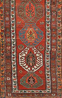 A Persian hall carpet, from the late 19th century, It includes a 90 cm addition with the same design, 460x102 cm