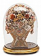 Isabelline seashell flower display with glass bell jar, third quarter of the 19th century, Damage to the bell jar, 42.5 cm high