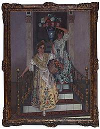 """Baldomero Gili Roig, Lleida 1873 - Barcelona 1926 , """"""""Del jardín de Valencia"""""""" (""""""""Mis primitas"""""""" or """"""""Les meves cosines""""""""), Oil on canv"""