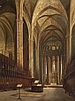 Aquiles Battistuzzi. Triete ?- Barcelona 1891. Interior of the Cathedral of Barcelona.  Oil on canvas. Signed and dated in Barcelona in