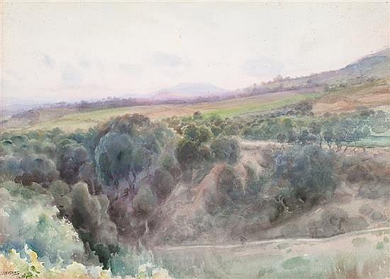 Joan Llaverias, Vilanova i La Geltrú 1865-Barcelona 1938 , Landscape of Lloret de Mar, Watercolour on paper stuck to cardboard, Signed