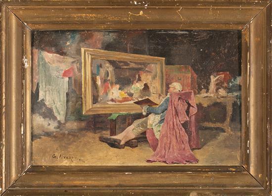 Germán Álvarez Jerez de la Frontera 1848 - 1912 A painter in his studio