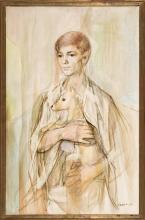 Francesc Domingo Segura Barcelona 1893 - São Paulo 1974 Young lady with a dog
