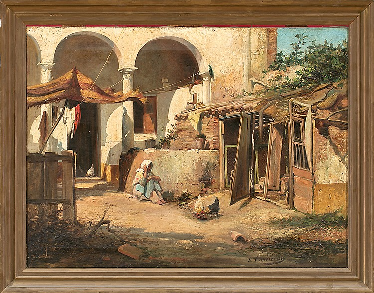 León Comeleran Perpignan 1830 - Barcelona c. 1885 Chicken run