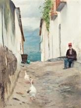 Josep Triadó Mayol, Street of a village, Oil on canvas