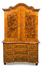 A Central European Rococo chest of drawers-wardrobe in walnut and walnut root with satin wood marquetry, from the 18th Century 198x120x