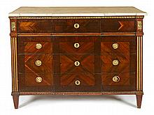 Charles IV chest of drawers in mahogany, walnut and carved and gilded wood, late 18th Century White marble top   104x132x65 cm