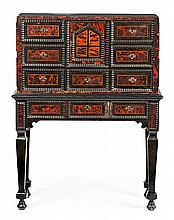 An ebony wood and mother-of-pearl Dutch writing desk in Louis XIV style, from the late 19th Century. . 48x88x34 (writing desk) and 76x9