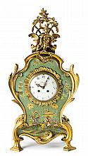 Chinese Louis XV-style clock in gilt and painted bronze, late 19th Century Clockmaker Bailly of Paris. Paris movement. Needs servicing