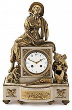 An Early 20th Century white marble and gold-plated bronze Louis XVI style French clock Maachinery Paris. 48X28,5x16 cm