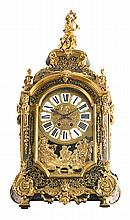 A Regency style French clock with bracket with brass Boulle marquetry and gold-plated bronze mounts, from the late 19th Century  Paris