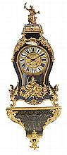 A Regency style French clock with bracket with brass Boulle marquetry and gold-plated bronze mounts, from the last quarter of the 19th