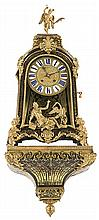French Regency-style wall-mounted bracket clock with brass and tortoiseshell Boulle inlay and gilt-bronze applications, 19th Century  1