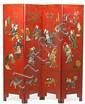 Biombo chino en madera lacada con incrustaciones en marfil, nácar y piedras duras, finales del siglo XIX-principios del siglo XX