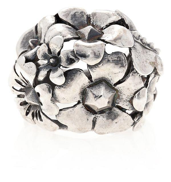 Tous, sortija floral en plata