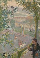 Baldomero Gili Roig Lleida 1873 - Barcelona 1926 Shepherd Oil on canvas stuck to cardboard Signed, located and dated in Rome in 1905.
