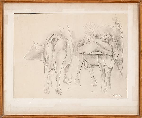 Joan Rebull Reus 1899 - Barcelona 1981 Cows study Pencil drawing on paperSigned  30x40 cm