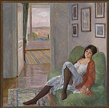 "Ramón Pichot Gironès Barcelona 1872 - 1925 ""Figura a dues llums"" Oil on canvas Signed. Done in 1990. Literature: Maria Lluïsa Borràs"