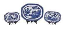 Tres fuentes chinas en porcelana, del siglo XVIII