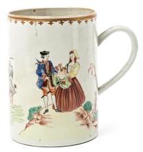 Taza china en porcelana de Compañía de Indias, del siglo XVIII