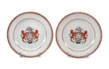 Pair of Chinese porcelain plates, East India Company, 18th Century