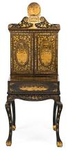 Chinese writing desk in black lacquered wood from Canton, gilt and silver-gilt, first half of the 19th Century