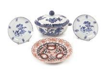 Sopera y dos platos chinos Qianlong y plato japonés Imari en porcelana, de los siglos XVIII y XIX