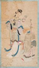 Escuela china Qing de principios del siglo XIX Dama y santón Pintura al gouache sobre papel