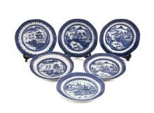 Juego de seis platos chinos en porcelana, del siglo XIX