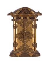 Altar portátil japonés en madera lacada y dorada, de principios del siglo XIX