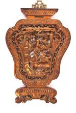 Two Chinese reliefs in carved, fretted and gilded wood from Ningpo, first third of the 20th Century